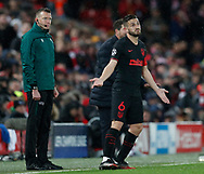 Koke of Atletico Madrid gestures on the touchline  during the UEFA Champions League match at Anfield, Liverpool. Picture date: 11th March 2020. Picture credit should read: Darren Staples/Sportimage