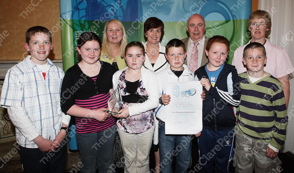Furglan NS pupils, John Cotter, Marie Fitzgerald,R?is?n Canavan,Leon O Connor,Cormac O Looney and Cathal Frawley with chairperson of the school's  board of management, Teresa Cotter; Northern Ireland Education Minister, Caitriona Ruane; CEO Foras na Gaeilge Ferdie Mac an Fhailigh and school principal, Patricia Vaughan.<br />?