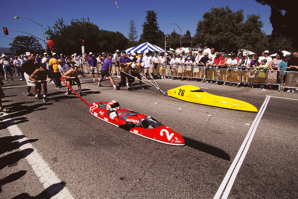 Sand Hill Challenge Soap Box Derby in Menlo Park, California. Silicon Valley.
