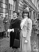 TDs arrive for the opening session of the 23rd Dáil...9-03-82.03-09-1982.9th March 1982..Pictured At Leinster House. ..From Left: Maureen Haughey..Eimear Haughey.
