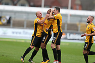 Joss Labadie of Newport county (4) celebrates with teammates David Pipe (l)  and Ben Tozer (r)  after he scores his teams 2nd goal. EFL Skybet football league two match, Newport county v Yeovil Town at Rodney Parade in Newport, South Wales on Saturday 7th October 2017.<br /> pic by Andrew Orchard,  Andrew Orchard sports photography.