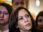 11 APRIL 2019 - DES MOINES, IOWA: US Senator KAMALA HARRIS, (D-CA) waits to speak at a house party meet and greet for her presidential campaign in Des Moines.  Sen Harris is one of the leading candidates to be Democratic nominee for the US Presidency. Iowa traditionally hosts the the first election event of the presidential election cycle. The Iowa Caucuses will be on Feb. 3, 2020.     PHOTO BY JACK KURTZ