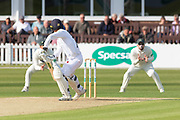 Wayne Madsen edges to Paul Horton at slip during the Specsavers County Champ Div 2 match between Leicestershire County Cricket Club and Derbyshire County Cricket Club at the Fischer County Ground, Grace Road, Leicester, United Kingdom on 28 May 2019.