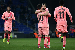 December 8, 2018 - Barcelona, Catalonia, Spain - Leo Messi goal celebration during the match between RCD Espanyol and FC Barcelona, corresponding to the week 15 of the spanish league, played at the RCD Espanyol Stadium on 08th December 2018 in Barcelona, Spain. Photo: Joan Valls/Urbanandsport /NurPhoto. (Credit Image: © Joan Valls/NurPhoto via ZUMA Press)