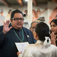 Navajo Nation Council Delegate Seth Damon is sworn in by Chief Justice JoAnn B. Jayne as speaker for the Navajo Nation Council, Monday, Jan 28 at the council chamber in Window Rock, Ariz.