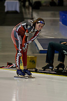 Calgary - December 5, 2009 - Essent ISU World Cup Speedskating at the Olympic Oval in Calgary.  Christine Nesbitt of Canada rests after racing in the A Division of the women's 1500m event.  Nesbitt finished 2nd in 1:54.43 and was part of a strong Canadian contingent that took 3 of the top 4 places in the event...©2009, Sean Phillips.http://www.Sean-Phillips.com