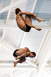 Tom Daley (top) and Daniel Goodfellow from Dive London Aquatics Club and Plymouth Diving compete during the Mens Synchronised 10m Platform Final - Mandatory byline: Rogan Thomson/JMP - 23/01/2016 - DIVING - Southend Swimming & Diving Centre - Southend-on-Sea, England - British National Diving Cup Day 2.