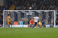 Hallam Hope of Bury shoots and scores his teams 4th goal (4-1). EFL Skybet football league one match, Bury v Port Vale at Gigg Lane in Bury ,Lancs on Saturday 3rd September 2016.<br /> pic by Chris Stading, Andrew Orchard sports photography.
