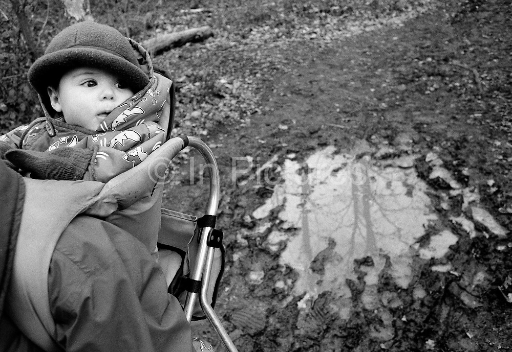 """""""Puddle in Oxleas Wood."""" A six month-old infant looks out from a baby back carrier frame whilst out on a muddy winter jaunt in Oxleas Wood on Shooters Hill, South London. The girl peers out with a fascination for the outdoors from a warm coat wearing a tiny hat and loose-fitting gloves to view the world while perched high-up on her mother's back who carries her child on the chilly walk. The bare trees and forested landscape can be imagined from the waterlogged puddle that is out of focus to the right. This is from a documentary series of pictures about the first year of the photographer's first child Ella. Accompanied by personal reflections and references from various nursery rhymes, this work describes his wife Lynda's journey from expectant to actual motherhood and for Ella - from new-born to one year-old."""