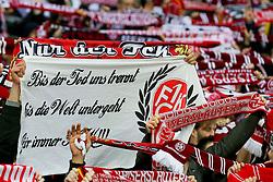 """03.03.2015, BayArena, Leverkusen, GER, DFB Pokal, Bayer 04 Leverkusen vs 1. FC Kaiserslautern, Achtelfinale, im Bild Fans des 1. FC Kaiserslautern mit einem Banner """"Bis der Tod uns trennt, bis die Welt untergeht, fuer immer FCK) // during German DFB Pokal last sixteen match between Bayer 04 Leverkusen and 1. FC Kaiserslautern at the BayArena in Leverkusen, Germany on 2015/03/03. EXPA Pictures © 2015, PhotoCredit: EXPA/ Eibner-Pressefoto/ Schueler<br /> <br /> *****ATTENTION - OUT of GER*****"""