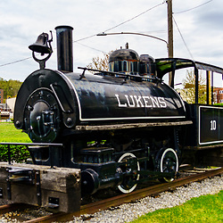 Coatesville, PA / USA - May 3, 2020: A small steam powered locomotive used by the former Lukens Steel Company, now ArcelorMittal, at its steel mill.