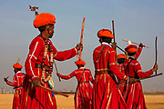 Traditional Gair Dance at the Desert Festival on 29th January 2018 in Jaisalmer, Rajasthan, India. It is an annual event that take place in February month in the beautiful city Jaisalmer. It is held in the Hindu month of Magh February, three days prior to the full moon.