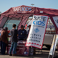 At the 6th Annual Preparedness and Public Safety Day, Saturday at the Rio West Mall the Navajo Health Education Program gives out bags to put cell phones in while driving that prevent them from getting service.