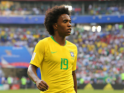 July 2, 2018 - Samara, Russia - July 2, 2018, Russia, Samara, FIFA World Cup 2018, 1/8 finals. Football match of Brazil - Mexico at the stadium Samara - Arena. Player of the national team Willian  (Credit Image: © Russian Look via ZUMA Wire)