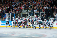 KELOWNA, CANADA - MAY 13: The Kelowna Rockets get ready to celebrate the win and the WHL Championship on May 13, 2015 during game 4 of the WHL final series at Prospera Place in Kelowna, British Columbia, Canada.  (Photo by Marissa Baecker/Shoot the Breeze)  *** Local Caption ***