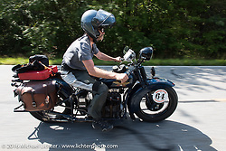 Steve Macdonald riding his 1928 Henderson Deluxe during Stage 3 of the Motorcycle Cannonball Cross-Country Endurance Run, which on this day ran from Columbus, GA to Chatanooga, TN., USA. Sunday, September 7, 2014.  Photography ©2014 Michael Lichter.