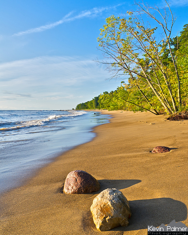 Even though this looks like a tropical beach, it is actually Lake Michigan in Illinois. Most of the shoreline in Illinois has been developed and does not look natural. But at Fort Sheridan, there is a small stretch of beach that is protected as a forest preserve. The light made it even more beautiful shortly after sunrise on this August morning.