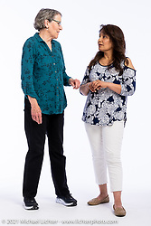 Bette Frick (L) with Guillermina Perez at the Intercambio portrait Shoot. Longmont, CO, USA. June 5, 2021. Photography ©2021 Michael Lichter. Usage rights granted to Intercambio Uniting Communities and its assigns.