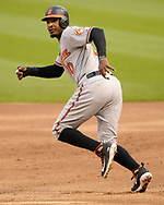 CHICAGO - MAY 21:  Adam Jones #10 of the Baltimore Orioles runs the bases against the Chicago White Sox on May 21, 2018 at Guaranteed Rate Field in Chicago, Illinois.  (Photo by Ron Vesely)  Subject: Adam Jones