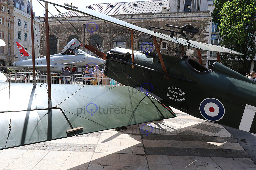 Celebrating 100 years of the Royal Air Force - A rare display of RAF aircraft, Guildhall Yard, London UK, 22 April 2018, Photo by Richard Goldschmidt