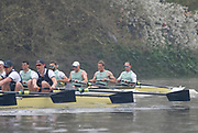 Putney, London, Varsity Boat Race, 07/04/2019, Embankment, Oxford V Cambridge, Men's Race, CUBC, Strtch the lead, right to left, Dave BELL, James CRACKNELL, <br /> Grant BITLER, <br /> Dara ALIZADEH, <br /> Cullum SULLIVAN,  Championship Course,<br /> [Mandatory Credit: Patrick WHITE], Sunday,  07/04/2019,  3:26:19 pm,