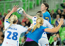 Mirjeta Bajramovska #13 of Krim Mercator during handball match between RK Krim Mercator (SLO) and Dinamo - Sinara (RUS) in 4th Round of Women's EHF Champions League 2014/15, on November 9, 2014 in Arena Stozice, Ljubljana, Slovenia. Photo by Vid Ponikvar / Sportida