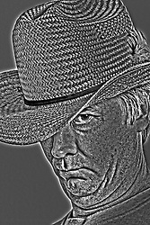 13 April 2013:   Middle aged man wearing straw cowboy type hat in black and white with single image HDR effects applied. This image available for EDITORIAL USE ONLY. A release may be required. Additional information by contacting alook at alanlook.com