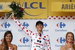 July 14, 2017 - Foix, FRANCE - French Warren Barguil of Team Sunweb celebrates on the podium in the red polka-dot jersey for best climber after the 13th stage of the 104th edition of the Tour de France cycling race, 101km from Saint-Girons to Foix, France, Friday 14 July 2017. This year's Tour de France takes place from July first to July 23rd. BELGA PHOTO YUZURU SUNADA (Credit Image: © Yuzuru Sunada/Belga via ZUMA Press)