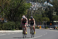 Lucy Hall of Great Britain and Jessica Learmonth of Great Britain lead the cycle leg during the Elite Women race of the Discovery Triathlon World Cup Cape Town leg held at Green Point in Cape Town, South Africa on the 11th February 2017.<br /> <br /> Photo by Shaun Roy/RealTime Images