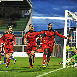 TELFORD COPYRIGHT MIKE SHERIDAN 12/1/2019 - GOAL. Dan Udoh of AFC Telford scores to make it 2-0 during the Vanarama Conference North fixture between AFC Telford United and Hartlepool United at the Super Six Stadium.