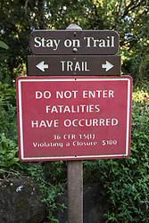 Ohe'o Gulch Warning Sign