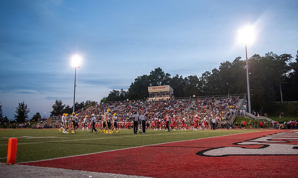 A general view of the field during the game between the Moon Tigers and Montour Spartans at Tiger Stadium on September 3, 2021 in Moon Township, Pennsylvania.