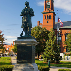 The Claremont Opera House and a Civil War memorial in Claremont, New Hampshire.