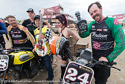 Winners of the Hooligan Flat Track Racing in front of the main stage at the Buffalo Chip during the annual Sturgis Black Hills Motorcycle Rally. SD, USA. August 10, 2016. Photography ©2016 Michael Lichter.