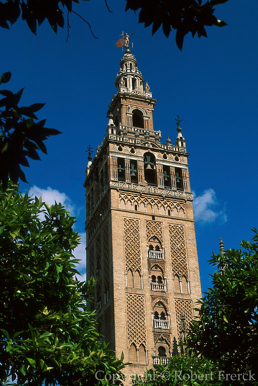 SPAIN, ANDALUSIA, SEVILLE the Giralda; Moorish, now belltower