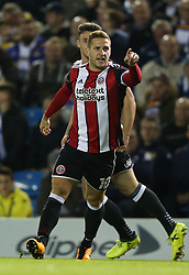 Sheffield United's Billy Sharp celebrates scoring his side's first goal of the game during the Sky Bet Championship match at Elland Road, Leeds.
