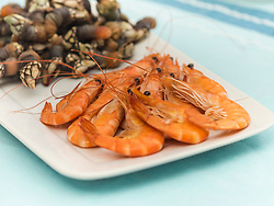 Spanish seafood on tray, Getxo, Algorta, Basque Country, Biscay, Spain, Europe