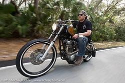 Austin Andrella riding his custom Yamaha XS650 through Tamoka State Park during Daytona Beach Bike Week  2015. FL, USA. Friday, March 13, 2015.  Photography ©2015 Michael Lichter.