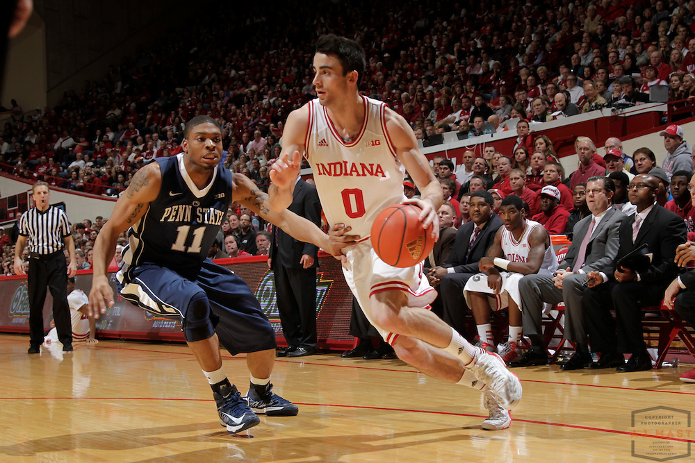 23 January 2013: Indiana forward Will Sheehey (0) as the Indiana Hoosiers played the Penn State Nittnay Lions in a college basketball game in Bloomington, Ind.