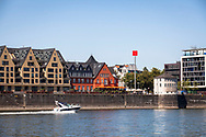 view over the Rhine to the Elisabeth-Treskow square and the building Rheinbastion in the Rheinau harbour, Cologne, Germany.<br /> <br /> Blick ueber den Rhein zum Elisabeth-Treskow-Platz und das Gebaeude Rheinbastion im Rheinauhafen, Koeln, Deutschland.