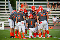 KELOWNA, BC - AUGUST 3:  Quarterback Alex Douglas #1 of Okanagan Sun goes over the next play in the huddle against the Kamloops Broncos at the Apple Bowl on August 3, 2019 in Kelowna, Canada. (Photo by Marissa Baecker/Shoot the Breeze)