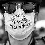Ryan Shultz, 26, protests at a Black Lives Matter demonstration in Simi Valley, a conservative, predominantly white suburb of Los Angeles, on Juneteenth.