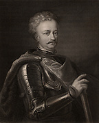 John Sobieski (1629-1696), John III, king of Poland from 1674. Polish warrior and statesman.  From 'The Gallery of Portraits' by Charles Knight (London, 1834).   Engraving.