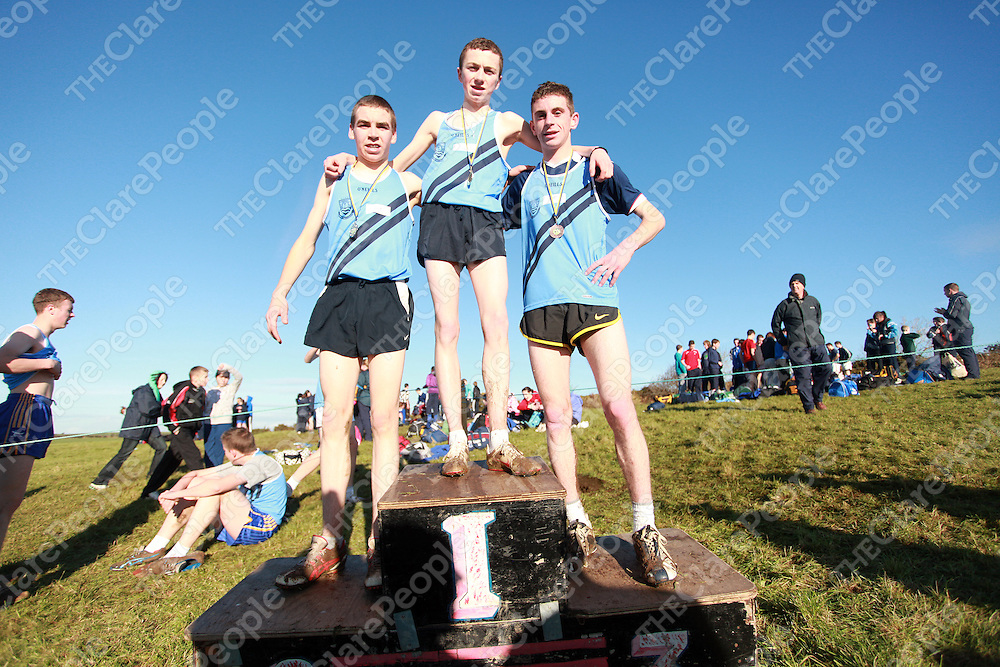 Delan Keniry, Jake O' Regan and Shane Keane from Kilkee taking the honours in the senior men race at the schools cross country finals in Mullagh on Friday.<br /> Photograph by Yvonne Vaughan