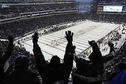 A General View of Lincoln Financial Field after a snow storm during the NFL game between the Detroit Lions and the Philadelphia Eagles on Sunday, December 8th 2013 in Philadelphia. The Eagles won 34-20. (Photo by Brian Garfinkel)