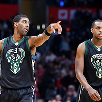 16 December 2015: Milwaukee Bucks guard O.J. Mayo (3) talks to Milwaukee Bucks guard Khris Middleton (22) during the Los Angeles Clippers 103-90 victory over the Milwaukee Bucks, at the Staples Center, Los Angeles, California, USA.