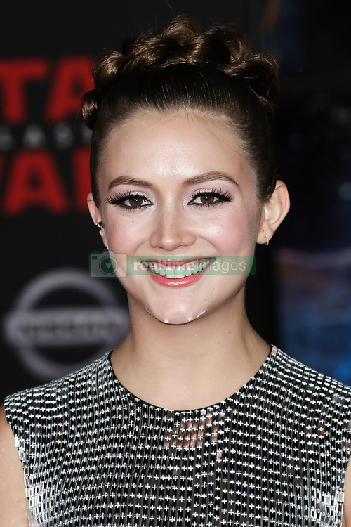 World Premiere Of Disney Pictures And Lucasfilm's 'Star Wars: The Last Jedi' held at The Shrine Auditorium on December 9, 2017 in Los Angeles, California, United States. 09 Dec 2017 Pictured: Billie Lourd. Photo credit: IPA/MEGA TheMegaAgency.com +1 888 505 6342