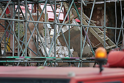 © Licensed to London News Pictures. 27/11/2015. London, UK. Interior walls are seen in a collapsed building in Barnes.  The Georgian townhouse collapsed as workmen were extending the property, which reportedly belongs to business man David Kassler . Singer Duffy was a previous occupant. Photo credit: Peter Macdiarmid/LNP