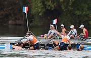 """Rio de Janeiro. BRAZIL. Gold Medalist NED LW2X. Bow. Ilse PAULIS, and Maaike<br /> HEAD, after winning the final, supporters swim out to greet and congratulate the double. 2016  2016 Olympic Rowing Regatta. Lagoa Stadium,<br /> Copacabana,  """"Olympic Summer Games""""<br /> Rodrigo de Freitas Lagoon, Lagoa. Local Time 10:39:59  Friday  12/08/2016 <br /> [Mandatory Credit; Peter SPURRIER/Intersport Images]"""