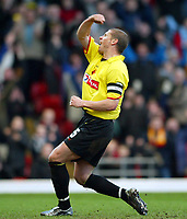 Photo: Scott Heavey.<br />Watford v Sunderland. Nationwide Division One. 07/02/2004.<br />Neil Cox celebrates after scoring Watfords second from the penalty spot